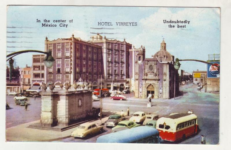 P173 JLs postcard 1956 mexico city old cars bus hotel