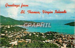 Modern Postcard Greetings from St Thomas Virgin Islands Charlotte Amalie Harbor