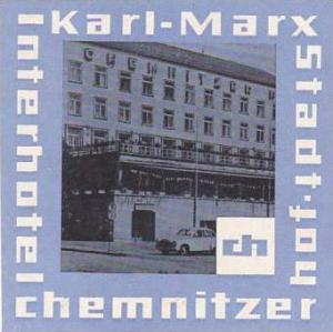 GERMANY KARL MARX STADT HOTEL CHEMNITZER HOF VINTAGE LUGGAGE LABEL
