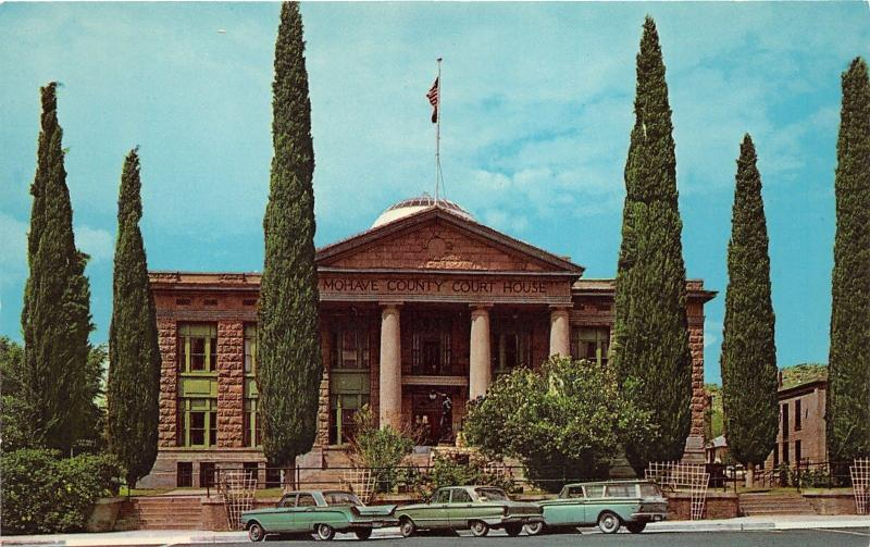 Kingman Arizona~Mohave County Court House~Statue in Front~60s Cars~Postcard