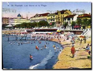 Old Postcard Saint Raphael baths and beach