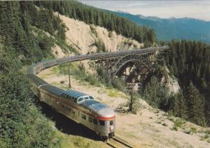 CP Rail scenic dome train The Canadian crossing Stoney Creek Bridge,  Vancouv...