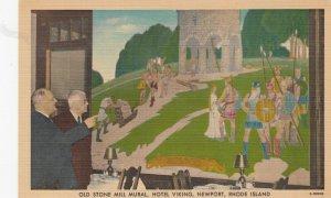 NEWPORT , R.I. , 30-40s ; Old Stone Mill Mural , Hotel Viking
