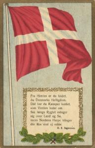 denmark, Old Danish Song: Vift stolt paa Kodans Bølge, Flag Postcard (1910s)