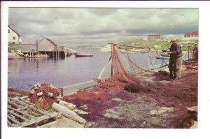 Fishermen Mend Their Nets, Peggy's Cove, Nova Scotia, Canada