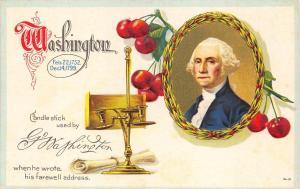 George Washington Candle stick Cherries Postcard