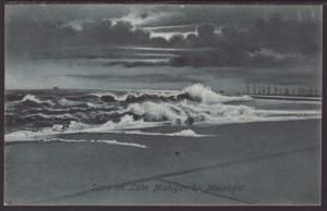 Scene on Lake Michigan by Moonlight Postcard