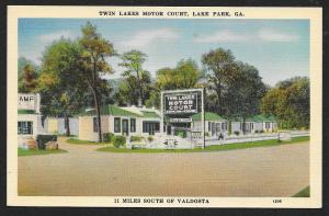 Twin Lakes Motor Court Lake Park Georgia Unused c1950s