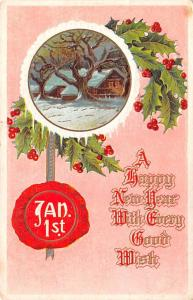 Post Card Old Vintage Antique A Happy New year