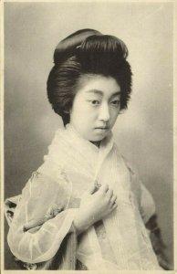 japan, Beautiful Geisha Lady Veiled (1910s) Postcard