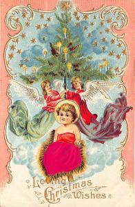 A Merry Christmas Satin Clothed Baby Jesus Flying Angels 1907 Embossed Postcard