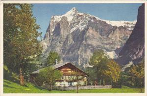 Switzerland Wohnhaus bei Grindelwald Wetterhorn
