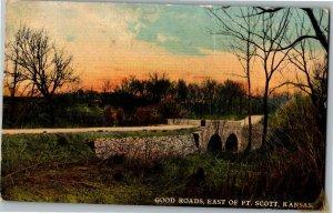 Good Roads, East of Fort Scott KS Bridge Vintage Postcard C06