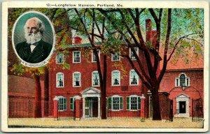 Portland, Maine Postcard Longfellow Mansion House View / Portrait 1910s Unused