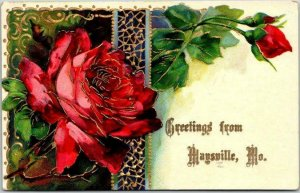 Vintage MAYSVILLE, Missouri Embossed Greetings Postcard Red Roses / 1910 Cancel