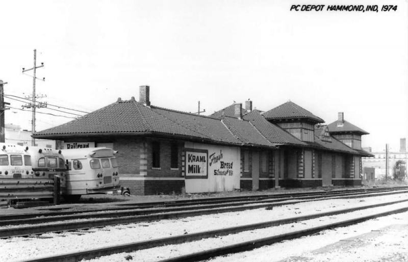 Hammond Indiana PC Railroad Depot Real Photo Vintage Postcard K101368