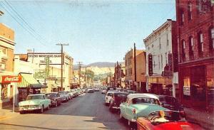 Waynesboro VA Business District Store Front's Old Cars Porsche Postcard