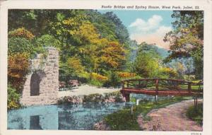 Illinois Joliet Rustic Bridge and Spring House In West Park Curteich