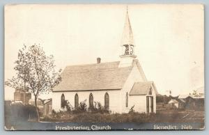 Benedict Nebraska~Presbyterian Church~Depot on Right~Elevator on Left~1911 RPPC