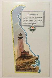Mobilgas Delaware State Outline Shape  Postcard