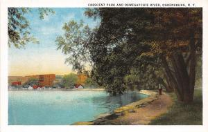 B87/ Ogdensburg New York NY Postcard c1910 Crescent Park Oswegatchie River
