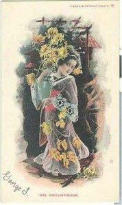 pc7008 postcard Miss Chrysanthemum UDB Flower Girl