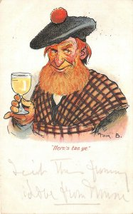 Lot110 here s tae ye comic man drinking tom b artist signed postcard uk