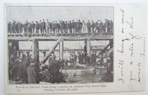1906 VINTAGE POSTCARD ELECTRIC TRAIN WRECK CAMDEN ATLANTIC CITY railway railroad