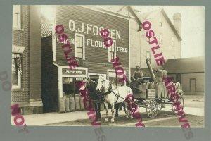 Fergus Falls MINNESOTA RPPC 1910 ADVERTISING Feed FLOUR DELIVERY WAGON OJ Fossen
