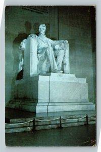 Lincoln  Memorial, Sitting Statue, Illuminated Chrome Washington DC Postcard
