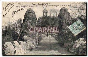 Old Postcard The Hanging Bridge In Paris Buttes Chaumont