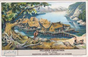 Liebig Trade Card s1410 Life In Early Lakeside Village No 1 Le village