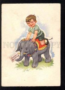 034158 Cute Boy on Young ELEPHANT. Vintage color PC