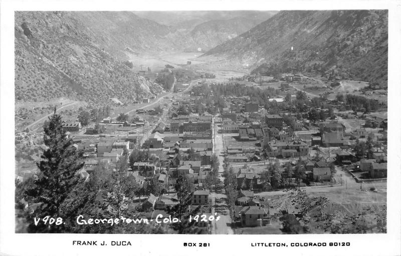 Georgetown Colorado Bird's Eye View from 1920s~Clear Creek County~c1950s RPPC