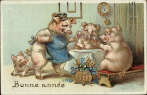 New Year - Anthropomorphism Pigs Drinking Wine Gold Inlay Postcard c1910
