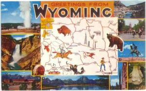 Greetings from Wyoming Map Card, WY