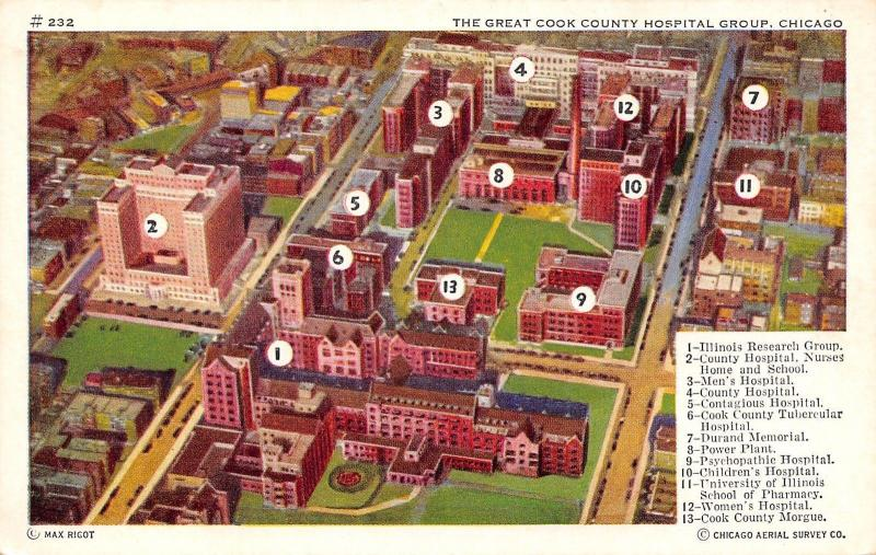 Chicago IL~Cook County Hospital Group~Aerial Survey~Key~Morgue~Psychopathic~1940