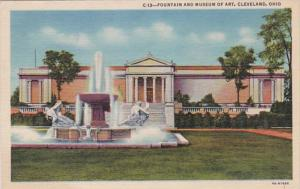 Ohio Cleveland Fountain and Museum Of Art 1956 Curteich