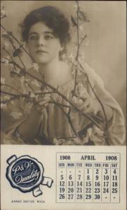 Grand Rapids MI P&W Quality 1908 Beautiful Calendar Girl Real Photo Postcard