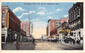 Muskogee Oklahoma~Tailor Keystone~Baer Hats~Brants Drugs~Jeweler~1920s Postcard