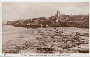 RP: CHATHAM , Kent , England ,1910-30s ; St Mary's Parish Church & H.M. Gun-Whar