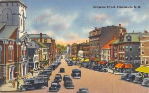 Portsmouth New Hampshire Congress Street Scene Vintage Postcard K98472