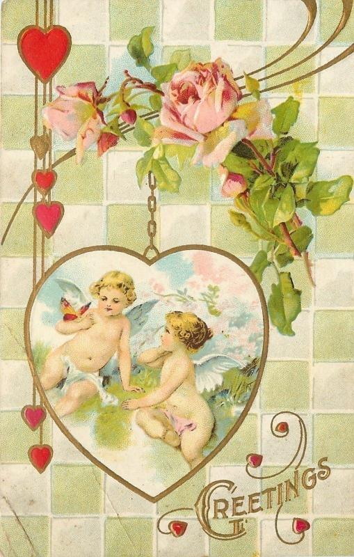 Valentine~Naked Cupids in Gold Chain Locket~Lime Square Tile Back~Roses~Emboss