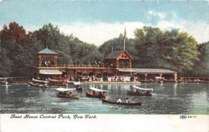 10778  NY Central Park 1908   Boat House, Canoes