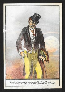 VICTORIAN TRADE CARD Disheveled Man 'Ive been to the Summer Nights Festival'