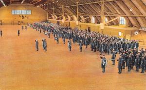 Geneva NY~Sampson Air Force Base~Parade in Drill Hall~Dress Blues~1953 Linen PC