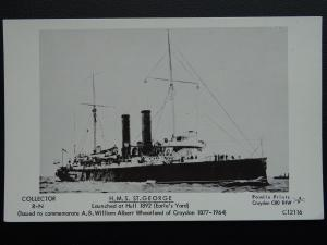 Naval Ship H.M.S. ST. GEORGE Built in Hull 1892 Postcard by Pamlin C12116