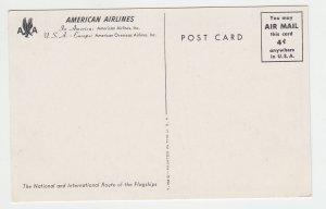P1988, vintage postcard american airlines national  international route flagship
