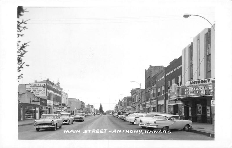 Anthony KS~Main Street~ART DECO Theatre Marquee~Alligator People~Cars~1959 RPPC