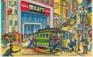 SAN FRANCISCO, California, 1950-1960's; Powell Street Turntable, Moars Cafeteria